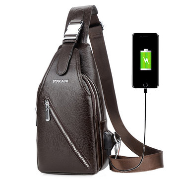 Men Business Casual USB Charging Port Sling Bag Chest Bag