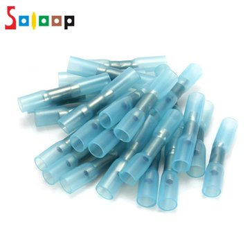 SOLOOP 100pcs 16-14AWG Insulation Heat Shrink Butt Electrical Terminal Connector