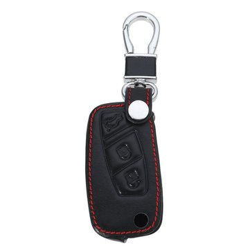 3-Bottons PU Leather Car Key Shell Case/Bag Cover for FIAT Panda Stilo Punto Doblo Grande