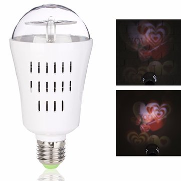 E27 4W Heart Shaped LED Rotating Projector Stage Light Lamp Bulb