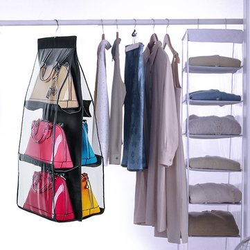 6 Pocket Hanging Handbag Purse Bag Tidy Organizer Storage Wardrobe Closet  Hanger