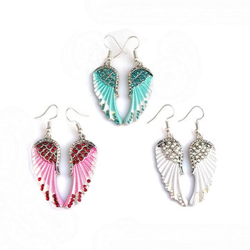 Cute Women's Earrings Angel Wings Rhinestone Alloy Dangle Earring Fashion Earrings for Women