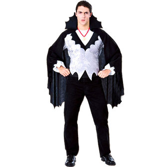 Mens Black Vampire Costumes Halloween Clothing (Stand Collar Cloak+Tops+Necklace)
