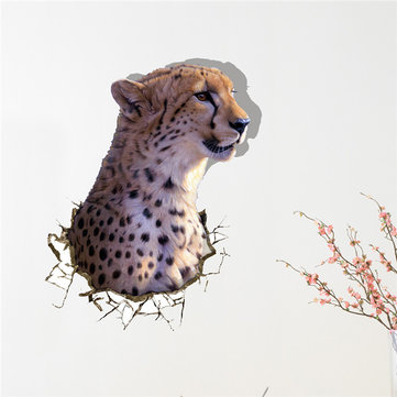 3D Leopard Wall Decals Animal PAG STICKER Removable Wall Hole Stickers Home Decoration Gift