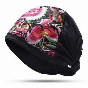 Women Vintage Floral Embroidered Beanie Caps