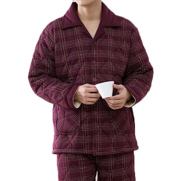 Mens Winter Casual Home Suits Thick Warm Quilted Pockets Long Sleeve Pajamas Sets