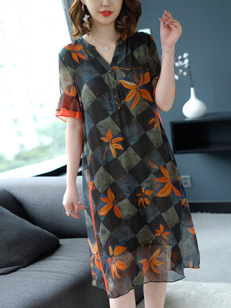 Semi-sheer Floral print Button V-neck Dress
