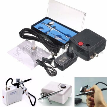 EU Plug New Precision Dual-Action Airbrush Spray Air Compressor Kit Craft Cake Hobby Paint Spray