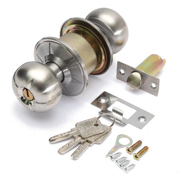 Stainless Steel Round Lever Handle Knob Knobs Door Lock Bedroom Bathroom Locks