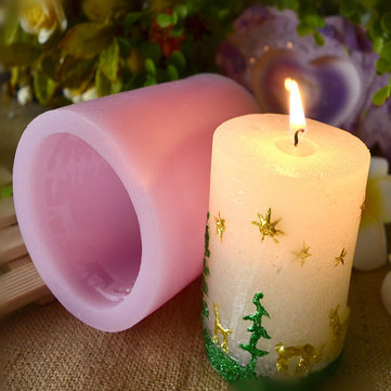 Silicone Christmas Cylindrical Shape Candle Mold Decoration Fondant Cake Chocolate Jelly Baking Mold