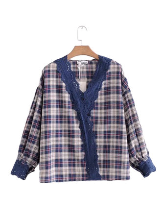 Vintage Women Lace Patchwork V-Neck Plaid Long Sleeved Blouse