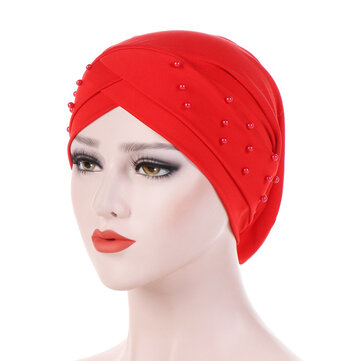 Womens Good Elastic Polyester Earmuffs Chemo Caps Cross Breathable Turban Hat