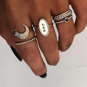5 Pcs Bohemian Finger Rings Set Moon Oval Shield Ring Fashion Jewelry for Women