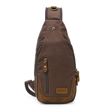 Men Fashion Chest Bag Canvas Casual Crossbody Bag Outdoor Leather Sling Bag