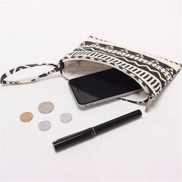 Universal Canvas Pattern Cloth Bag Durable Phone Case Wallet Case for under 6.5 inches Smartphone