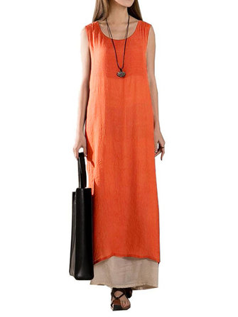 Vintage Women Sleeveless Solid Color O-neck Layered Split Long Maxi Dress