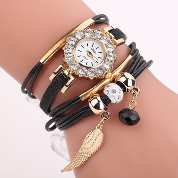 DUOYA Crystal Wing Ladies Gold Case Leather Bracelet Watch