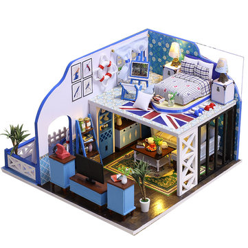 iiecreate K-024 French Riviera DIY Dollhouse With Furniture Light Cover Gift House Toys