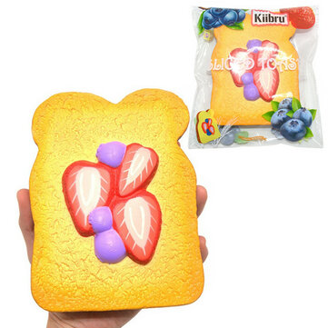Kiibru Strawberry Sliced Toast Squishy 14.5*11*3cm Slow Rising With Packaging Collection Gift Soft Toy