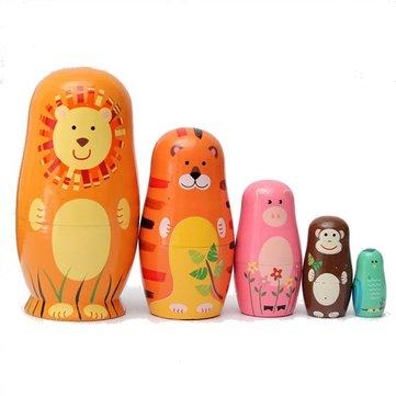 Set of 5 Cute Wooden Nesting Dolls Matryoshka Animal Russian Doll