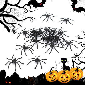 20PCS Halloween Plastic Black Spider Joking Toy Decoration Realistic Prop