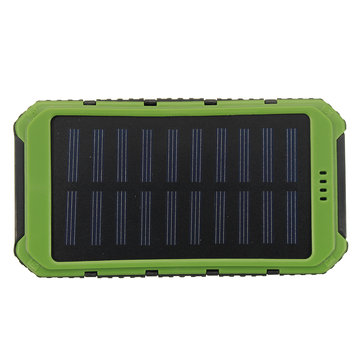 Waterproof Solar LED Dual USB Power Bank External Battery Charger Box Case