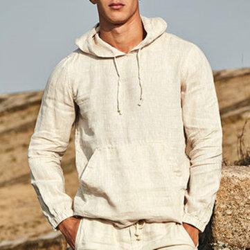 Men Vintage Casual Cotton Solid Color Plus Size Loose Hoodie