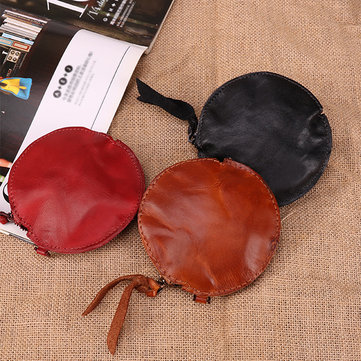 Mini Genuine Leather Round Coin Bag Cowhide Wallet