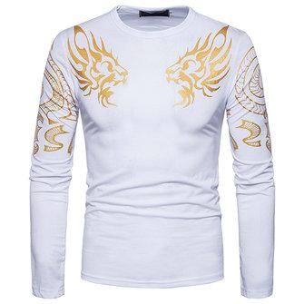 패션 맨즈 드래곤 토템 핫 스탬핑 티셔츠 레저 긴팔 라운드 넥 탑스