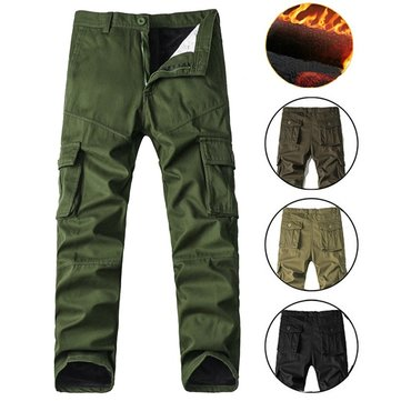 Men's Thicken Fleece Cargo Pants Casual Large Pocket Cotton Straight Leg Trousers