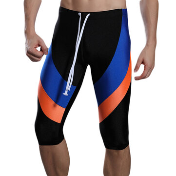 Mens Sports Stitching Color High Elastic Tight Quick Drying Knee Length Trunks Swimming Surf Shorts