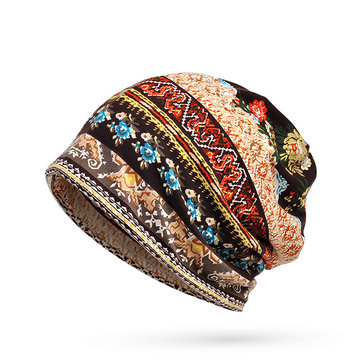Women Cotton Flower Printing Beanie Hats Casual Autumn Multi-function Warm Collar Scarf