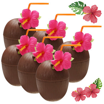 6Pcs Hawaiian Luau Hula Tropical Plastic Party Coconut Cup Drink & Straw Decoration Drinking Straw