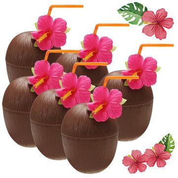 6Pcs Hawaiian Luau Hula Tropical Plastic Party Coconut Cup Drink & Straw Decoration Drinking Straw