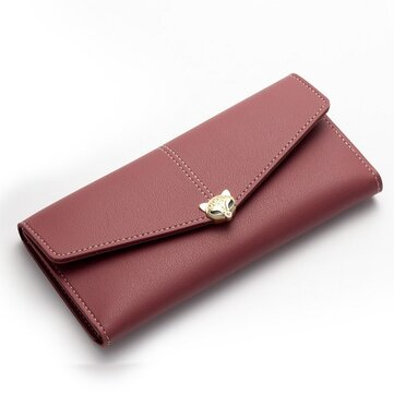 Women PU Leather Hasp Casual Multi-Function Card Holder Changes Purse Wallet