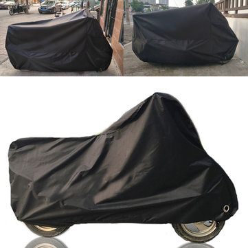 190T Black Motorcycle Cover Waterproof Outdoor Rain Dust UV Scooter Protector