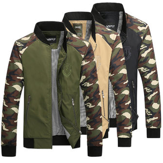 Plus Size Mens Camouflage Spell Color Stand Collar Zipper Outdoor Jacket
