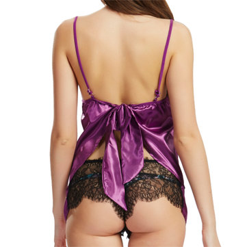 Silk Bowknet Back Suspender Pajamas Set Temptation Lace Short Sleepwear