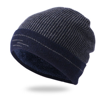 Men Women Winter Warm Thicken Plus Velvet Knit Skullcap Hat