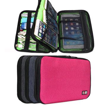 BUBM DIS-D Grande capacità Doppio strato Accessori digitali Storage Bank Tablet Storage Borsa