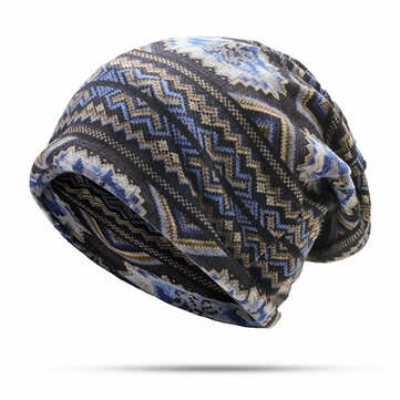 Women Striped Print Beanies Hat Windproof Warm Multi-function Scarf Bonnet Hats