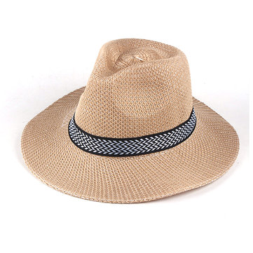Mens Wide Brim Sunscreen Straw Sun Hat Casual Fedora Trilby Cowboy Hat