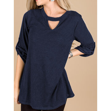 Women Casual V Neck 3/4 Sleeve Loose Solid Blouse