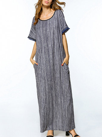 Casual Women Striped Blue Dress Batwing Sleeve Short Sleeve Long Dress