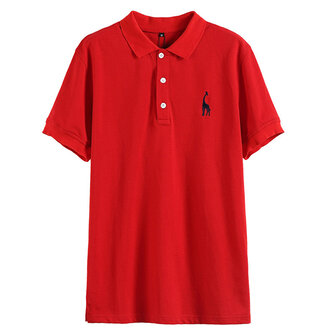 Mens Fashion Deer Embroidery Turn-down Collar Golf Shirt Short Sleeve Business Casual Tops