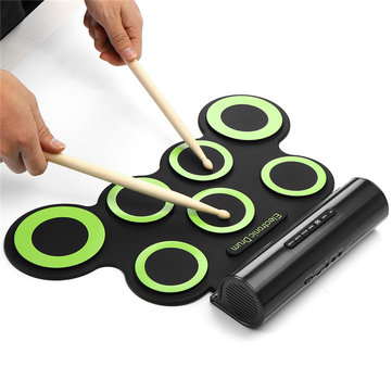 7 Drum Pads Portable Roll Up Electronic Drum Pad Kit with Speaker for Kids Gift DTX Drum Game