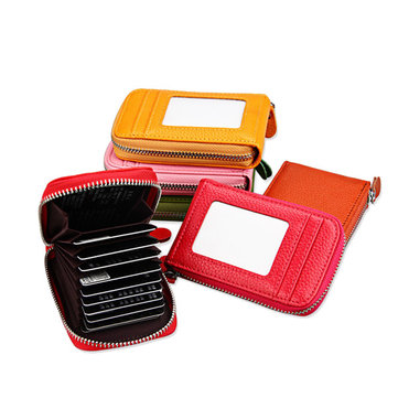 Genuine Leather Zipper RFID Card Holder Long Wallet