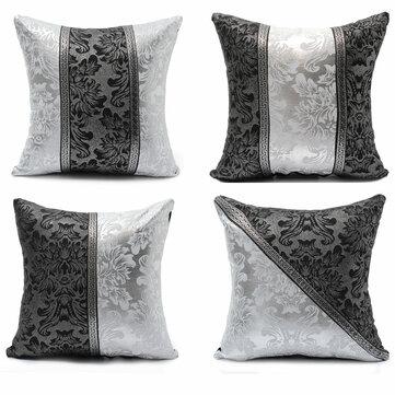 45 * 45cm stile retrò rivestimenti in pelle divano cassa quadrata in argento nero cuscino di tiro imitazione