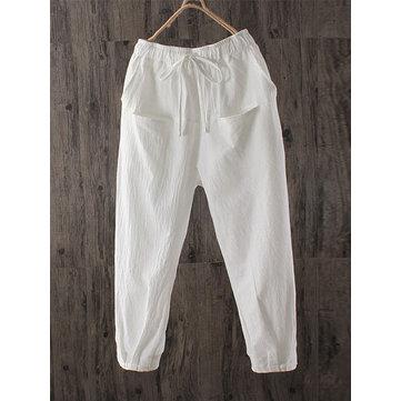 Women High Elastic Drawstring Waist Cotton Pants