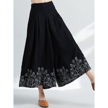 Ethnic Style Vintage Embroidery Cotton Linen Wide Leg Pants